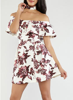 Floral Choker Neck Skater Dress - 1410069393337