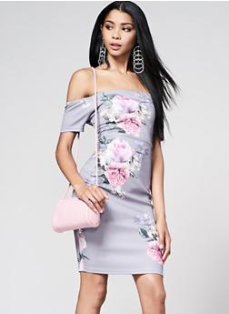 Off the Shoulder Floral Dress - 1410069393381
