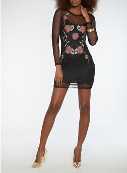 Embroidered Mesh Dress with Slip - 1410069393390