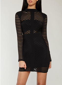 Shadow Stripe Bodycon Dress - 1410069393416