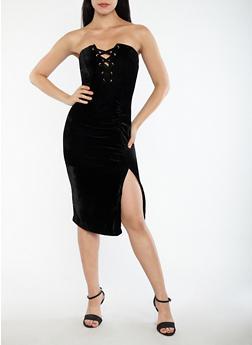 Velvet Lace Up Ruched Tube Dress - BLACK - 1410069393435