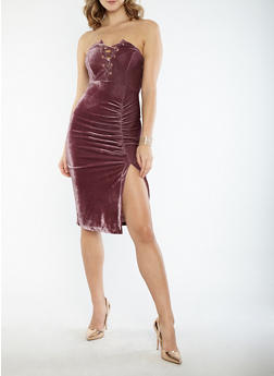 Velvet Lace Up Ruched Tube Dress - 1410069393435