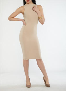 Ribbed Knit Midi Dress - 1410069393443