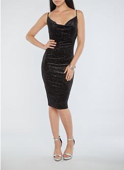 Glitter Velvet Dress - BLACK - 1410069393456