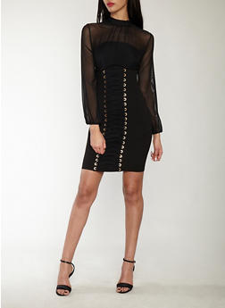 Mesh Lace Up Bodycon Dress - 1410069393469