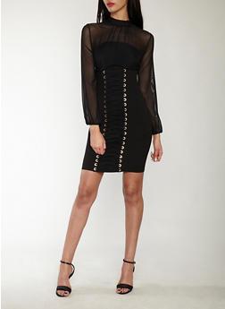 Mesh Lace Up Bodycon Dress - BLACK - 1410069393469