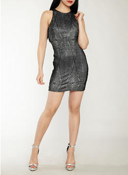 Sleeveless Glitter Bodycon Dress - 1410069393485