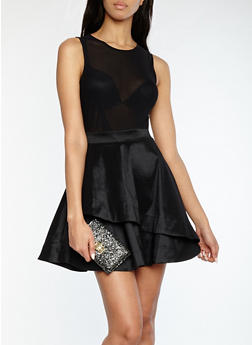 Mesh Taffeta Skater Dress - BLACK - 1410069393487