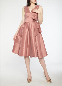 Taffeta Midi Skater Dress - 1410069393506