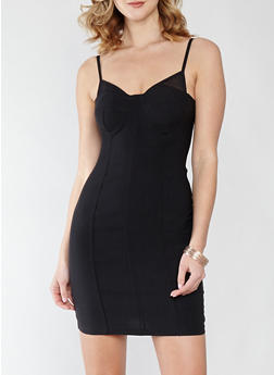 Mesh Trim Bodycon Dress - 1410069393523