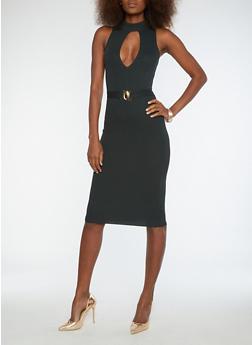 Rib Knit Belted Bodycon Dress - 1410069393533
