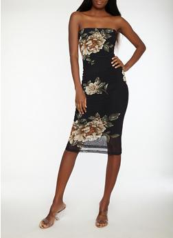 Floral Mesh Tube Dress - 1410069393537