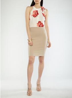 Floral Mesh Halter Dress - 1410069393538