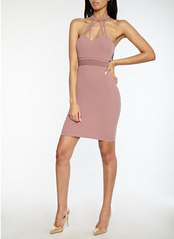 Caged Neck Bodycon Dress - 1410069393551