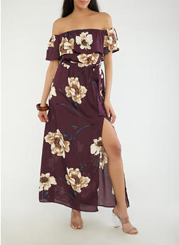 Off the Shoulder Floral Maxi Dress - 1410069393559