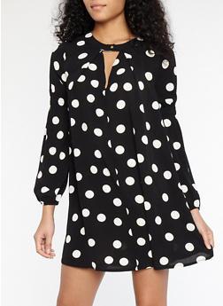 Polka Dot Crepe Knit Dress - 1410069393569