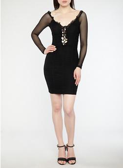 Ruched Mesh Off the Shoulder Dress - BLACK BLACK - 1410069393572