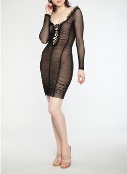 Ruched Mesh Off the Shoulder Dress - 1410069393572