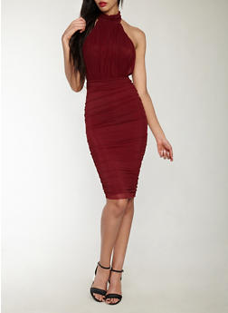 Ruched Mesh Halter Neck Bodycon Dress - 1410069393583
