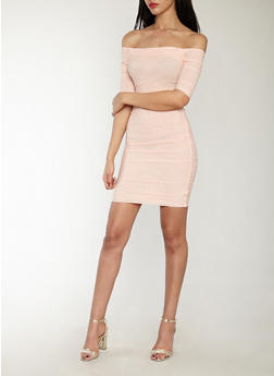 Ruched Mesh Off the Shoulder Bodycon Dress - 1410069393584