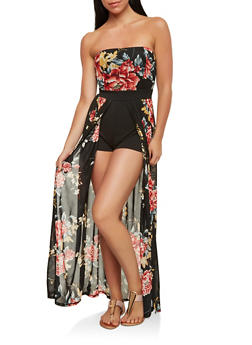 Floral Mesh Romper with Maxi Skirt Overlay - 1410069393588