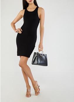 Basic Rib Knit Bodycon Dress - BLACK - 1410069393591