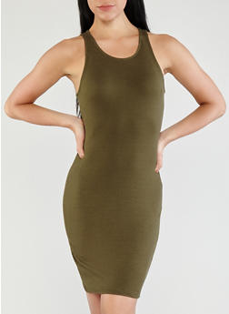 Basic Rib Knit Bodycon Dress - 1410069393591
