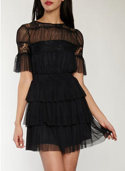 Mesh Tiered Dress with Lace Detail - BLACK - 1410069393598
