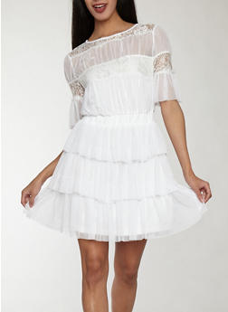 Mesh Tiered Dress with Lace Detail - WHITE - 1410069393598