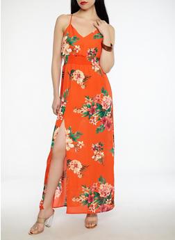 Floral Front Slit Maxi Dress - 1410069393647