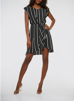 Striped Tie Front Dress - 1410069393761
