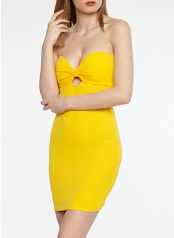 Sweetheart Bow Strapless Dress - 1410069393816