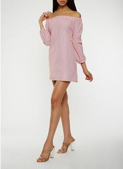 Striped Tie Back Off the Shoulder Dress - 1410069393824