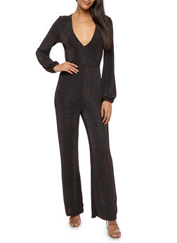 Glitter Knit Wide Leg Jumpsuit - 1410069394002