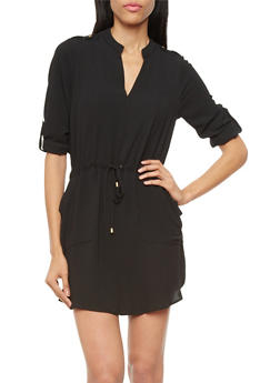 Split Neck Dress With Drawstring, Convertible Sleeves and Belt Accents,BLACK,medium