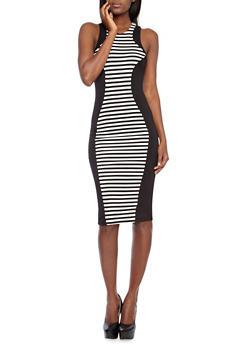 Stripe Paneled Midi Bodycon Dress with Zippered Racerback,BLACK/WHITE,medium