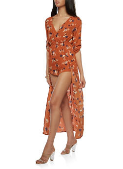 Floral Faux Wrap Romper with Maxi Skirt Overlay - 1410069396035