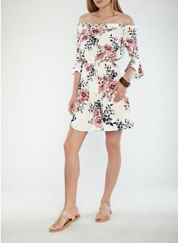 Floral Off the Shoulder Dress - 1410069396205