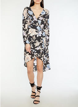Sheer Floral Wrap Dress - 1410069396213