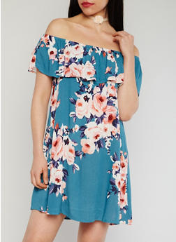 Floral Off The Shoulder Dress with Ruffle Overlay - 1410069396527