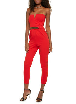 Strapless Jumpsuit with Faux Belt - RED - 1410069396558