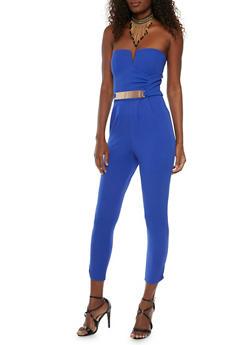 Strapless Jumpsuit with Faux Belt - ROYAL - 1410069396558