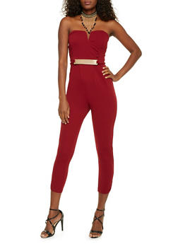 Strapless Jumpsuit with Faux Belt - BURGUNDY - 1410069396558