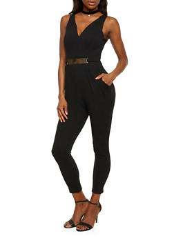 Sleeveless Jumpsuit with Faux Belt - BLACK - 1410069396559