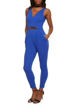 Sleeveless Jumpsuit with Faux Belt - 1410069396559