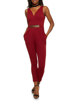 Sleeveless Jumpsuit with Faux Belt - BURGUNDY - 1410069396559