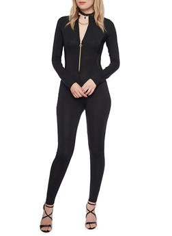 Solid Catsuit with Zipper Neckline - BLACK - 1410069396681