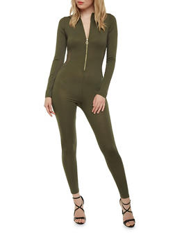 Solid Catsuit with Zipper Neckline - OLIVE - 1410069396681