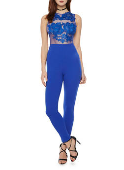 Sleeveless Jumpsuit with Mesh Crochet Bodice - ROYAL - 1410069396684