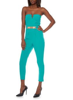 Strapless Pleated Jumpsuit - 1410069396705